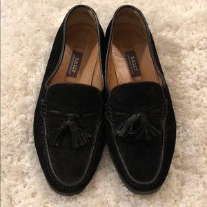 Men's Black Suede Bally Loafers w/ Tassel Size 8